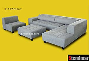 Amazoncom 4pc grey microfiber sectional sofa chaise for Gray sectional sofa amazon