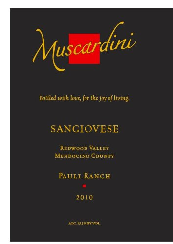 2010 Muscardini Cellars Sangiovese Mendocino County Pauli Ranch 750 Ml