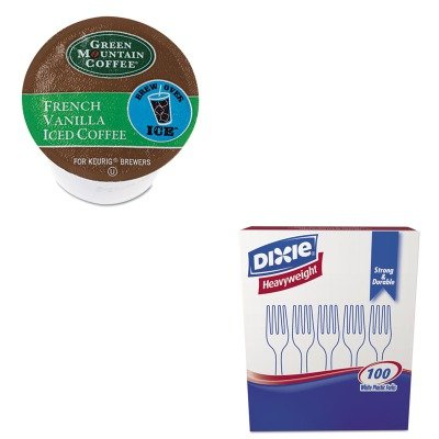 Kitdxefh207Gmt6832 - Value Kit - Green Mountain Coffee Roasters Brew Over Ice French Vanilla Iced Coffee K-Cups (Gmt6832) And Dixie Plastic Cutlery (Dxefh207)