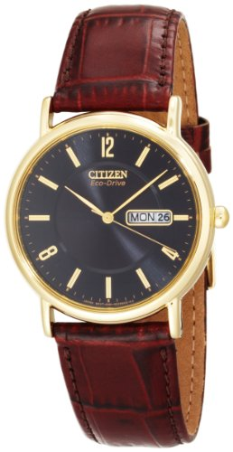 Citizen Men&#8217;s BM8242-08E Eco-Drive Gold-Tone Leather Watch