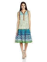 Fusion Beats Women's Cotton A-Line Dress (E515AKAS03M Green and Blue_XXL)