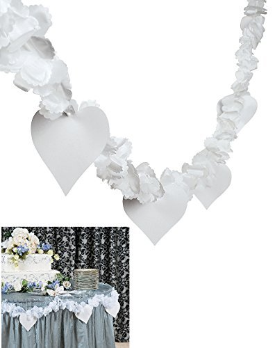 Package of Two Polyester Flower and Heart Garlands/Wedding/Shower/Engagement/Party Supplies and Deocrations