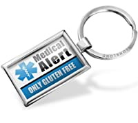 "Neonblond Keychains Medical Alert Blue ""Only gluten Free Allergy Safe"" - Key chain ring"