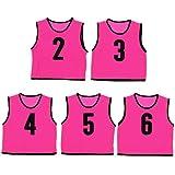 ビブス ジュニア用 ナンバー付き 5枚セット メッシュバッグ入り ゲームベスト ピンク 2-6番