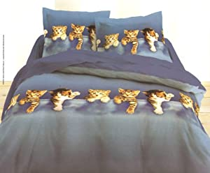 parure de lit double housse de couette animal chatons chat. Black Bedroom Furniture Sets. Home Design Ideas