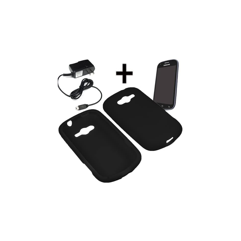 BW Silicone Sleeve Gel Cover Skin Case for Sprint, Virgin Mobile Samsung Galaxy Reverb M950 + Travel Charger Black