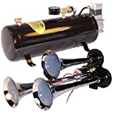 3 Trumpet Train Air Horn Kit - Fits Almost Any Vehicle: Truck, Car, Jeep or SUV. Includes Three Chrome Trumpets with All-In-One Air System: 110 PSI, 12-Volt Air Compressor, Tank, & More. Complete Kit