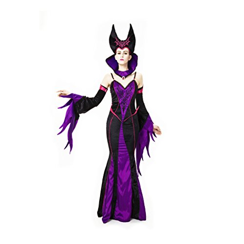 Wotefusi Halloween Party Cosplay Vampire Girl Witch Fancy Purple Dress Womens Costume