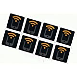 8 Black NFC Stickers NTAG213 by Tagstand - Fully programmable, and works with Android, Samsung Galaxy S5, S4, S3, Nexus 5, HTC, and All Other NFC Enabled Devices