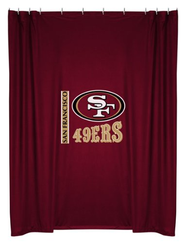 Nfl san francisco 49ers shower curtain 723926138311 for 49ers bathroom decor