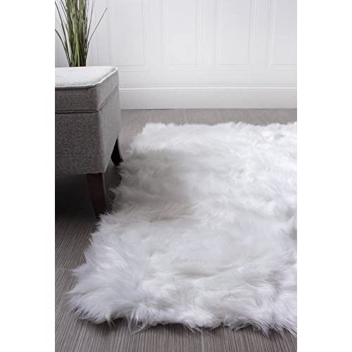 Super Area Rugs Soft Faux Fur Sheepskin Shag Silky Rug Baby Nursery Childrens Room Rug Ivory White, 3 x 5