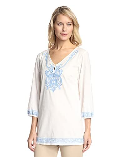 J. McLaughlin Women's Cropped Sleeve Embroidered Tunic