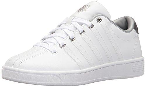 K-Swiss Women's Courtproii Met CMF Fashion Sneaker, White/White/Silver, 8.5 M US