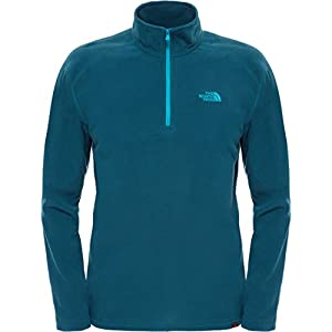 The North Face Men's 100 Glacier 1/4 Zip Hoodie - Depth Green, Large