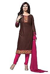 Mandani Fashion women's Cotton Party Wear Unstitched dress material(SF325_Brown color)