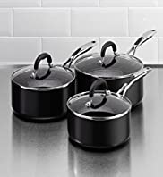 3 Piece Black Aluminium Saucepan Set