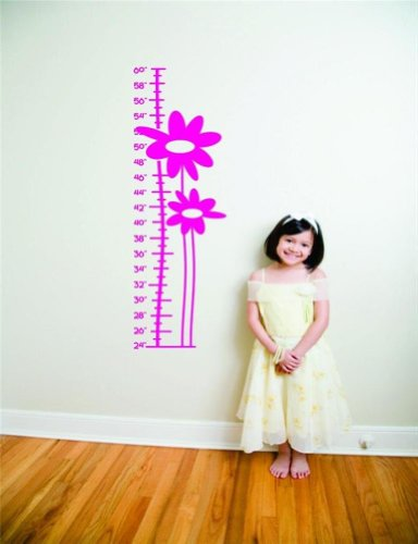 Design with Vinyl Design 205 - Hot Pink Flower Growth Chart Peel and Stick Vinyl Wall Decal Sticker, 12-Inch By 36-Inch, Hot Pink