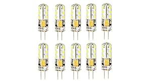 G4 2W 24*3014 120LM 6000K Pure White LED Light Bulb (10-Pack) - 2W, 24*3014, 120LM, 6000K, AC/DC 12V, 10-Pack