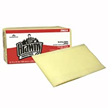 "Brawny Industrial 29624 Yellow Quarter Fold Dusting Cloth, 24"" Length x 24"" Width  (4 Packs of 50)"
