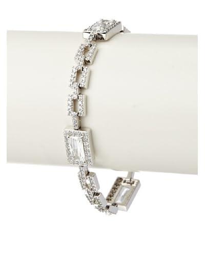 CZ by Kenneth Jay Lane Emerald Cut Pave Square Link Deco Bracelet