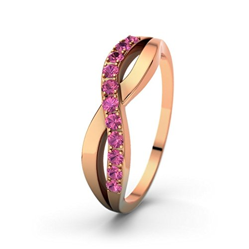 21DIAMONDS Women's Ring Brookelyn Pink Tourmaline Brilliant Cut Diamond Engagement Ring 14ct Rose Gold Engagement Ring