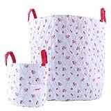 Minene-Cesta de almacenamiento de grandes y pequeños tela-guardería, Kids, Cute, casa flor azul con puntos rojos