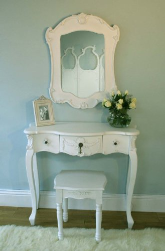 White Rococo Style Dressing Table, Mirror and Stool.
