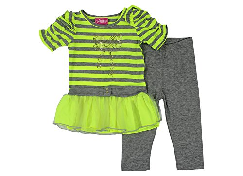 Alfa Global Little Girls Short Sleeved Dress And Leggings Set Yellow 4T front-301443