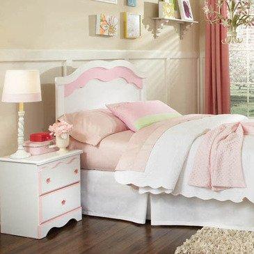 Standard Furniture Bubblegum 2 Piece Headboard Bedroom Set in White & Pink