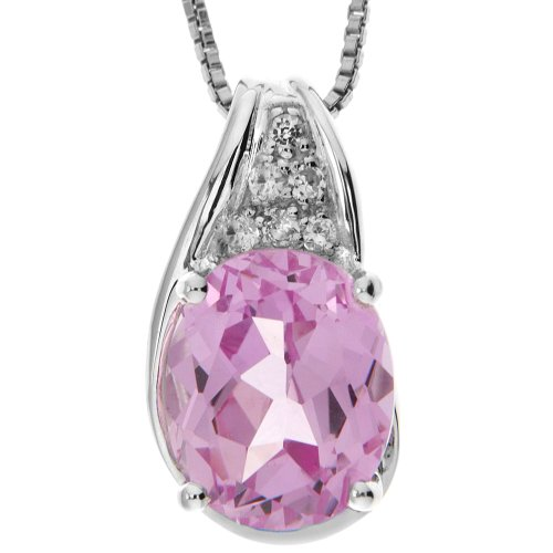 Sterling Silver Created Pink Sapphire and Created White Sapphire Pendant Necklace , 18