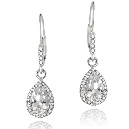 Sterling Silver 3ct White Topaz & Diamond Accent Teardrop Leverback Earrings