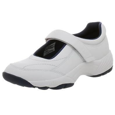 Propet Women's Mary Lou Mary Jane Sneaker,White/Navy,6 M (US Women's 6 B)