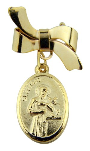 Saint Gerard Patron Of Expectant Mothers Medal On Bow Lapel Pin With Prayer Card