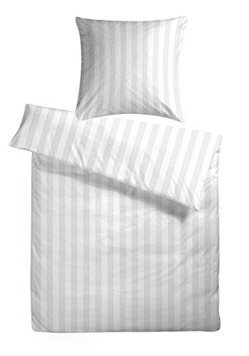 Damast-Bettwsche-Set-Uni-135x200-cm-Wei-gestreift-Bettdecke-und-Kissen-Bezug-aus-100-Baumwolle-mit-Reiverschluss-Der-schne-elegante-Hotel-Bettbezug-mit-leichtem-Glanz-fr-das-ganze-Jahr