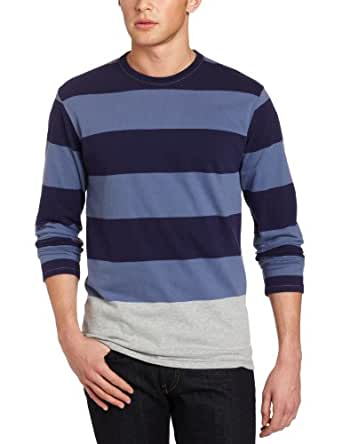 French Connection Men's Edged Engineered Long Sleeve Stripe Shirt, Blueblood, Small
