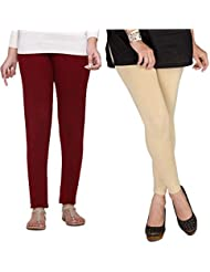 Shiva Collections Beige And Maroon Cotton Legging