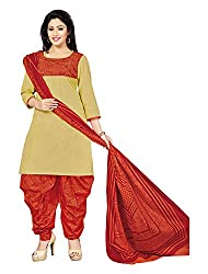 FABFACTORY Women's Cotton Unstitched Ethnic Dress Material (Gold)