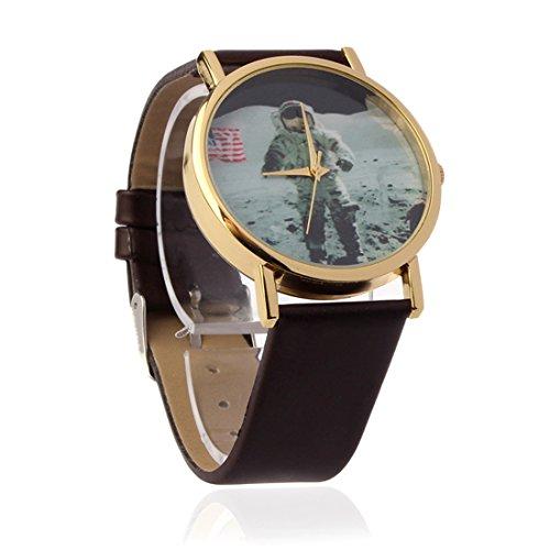 Mokingtop Men Space Pattern Leather Band Quartz Analog Wrist Watch (Brown)
