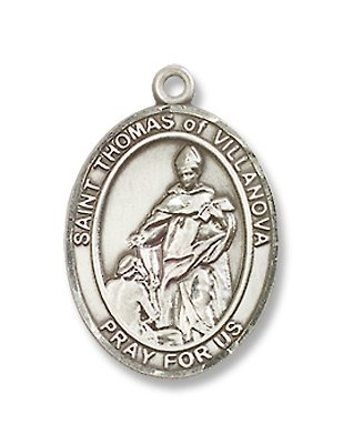 St. Thomas of Villanova Sterling Silver Medal with 18