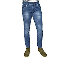 OiiN men's slim fit dobby fabric jeans