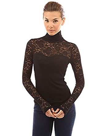 PattyBoutik Women's Polo Neck Sheer Lace Blouse (Black 8/10)