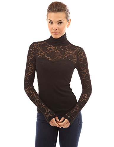 PattyBoutik Women's Turtleneck Sheer Lace Blouse (Black M) (Tops With Lace compare prices)