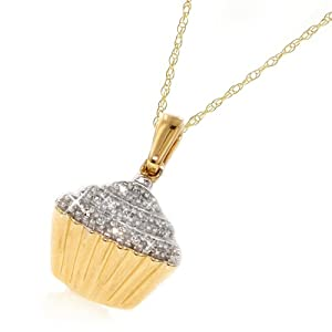 10k Yellow Gold Diamond Cupcake Pendant (.05 cttw, I-J Color, I2-I3 Clarity), 18""