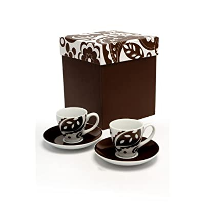 Mary Lou Brown Espresso Cup & Saucer 4 x set