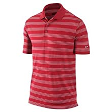NIKE Mens Dri-FIT Tech Core Stripe Polos University Red Medium