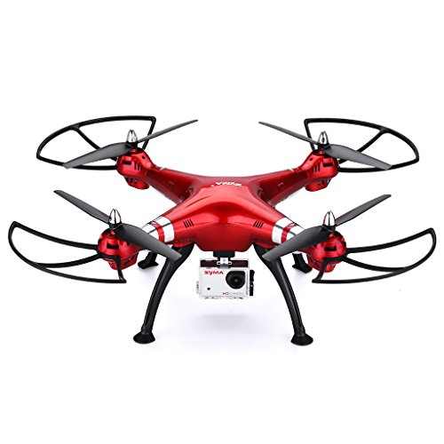 Syma-X8HG-RC-Quadcopter-Drone-24G-with-8MP-Camera-Headless-Mode-100M-Control-Distance-Barometer-Altitude-Hold-2000mAh-Battery-Red