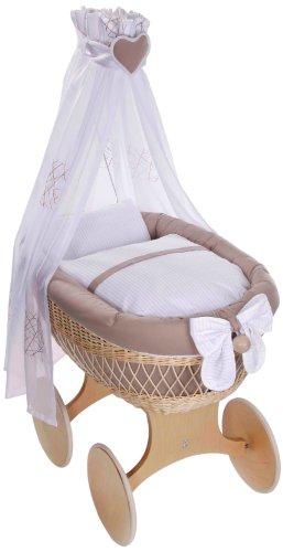 Imagen 1 de Easy Baby 173-16 - Cuna con dosel ruedas, colchón y accesorios, color madera natural