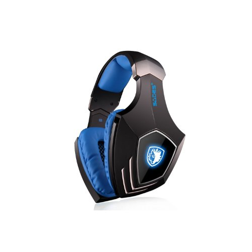 Andget Sades A-60 Usb Stereo Headphone Gaming Headset With Microphone 50Mm Driver 7.1 Surround Sound Led Logo Black And Blue