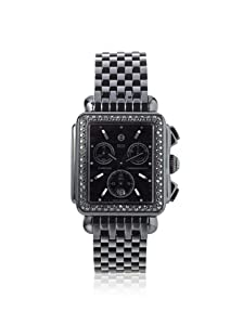 Michele Woman's MWW06A000679 Deco Noir Diamond Stainless Steel Black IP Bracelet Watch