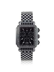 Michele Woman's MWW06A000679 Deco Noir Diamond Stainless Steel Black IP Bracelet Watch